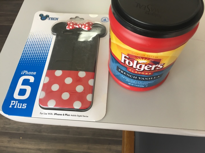 Folgers Crystals and an iPhone 6 Plus case that looks like Minnie Mouse