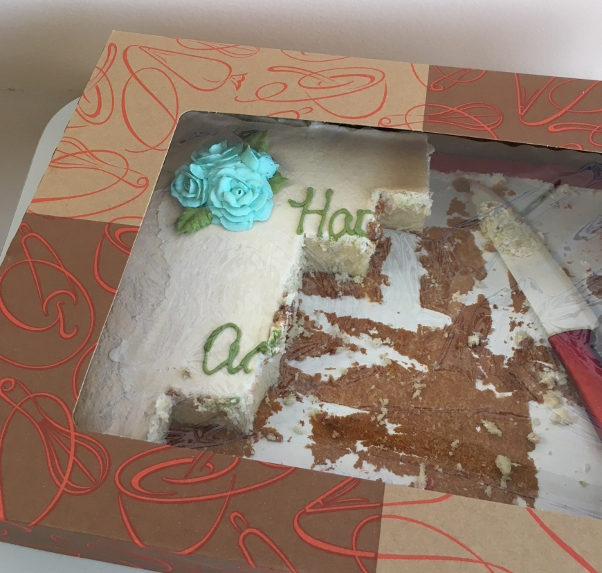 "Partially eaten cake; the only lettering left is ""Ha"" and ""A"""