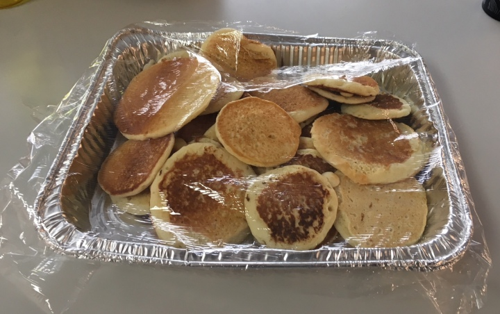 pancakes loosely wrapped in plastic wrap