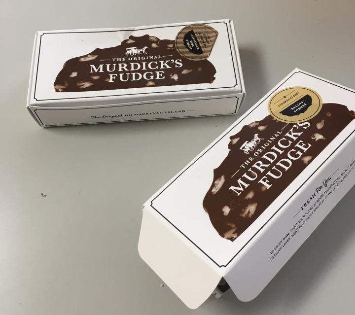 2 boxes of Murdick's fudge