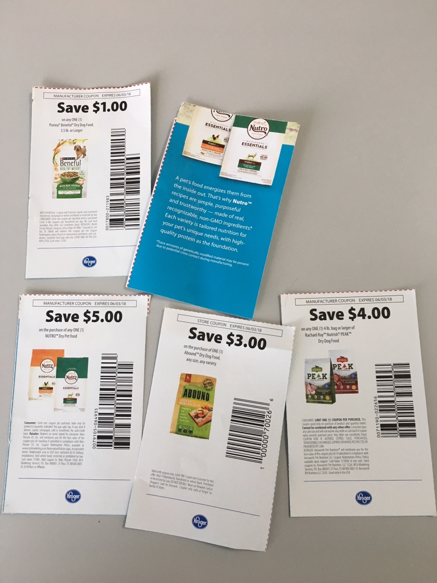 Coupons for varieties of dog food.
