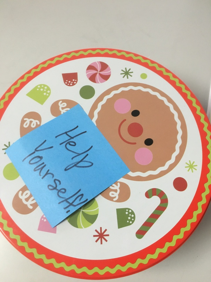 Cookie Tin with Help Yourself post-it note on it